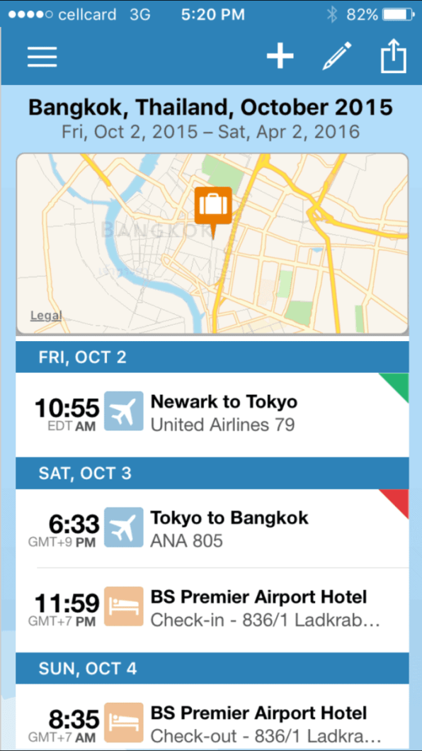 The TripIt app collates your trip