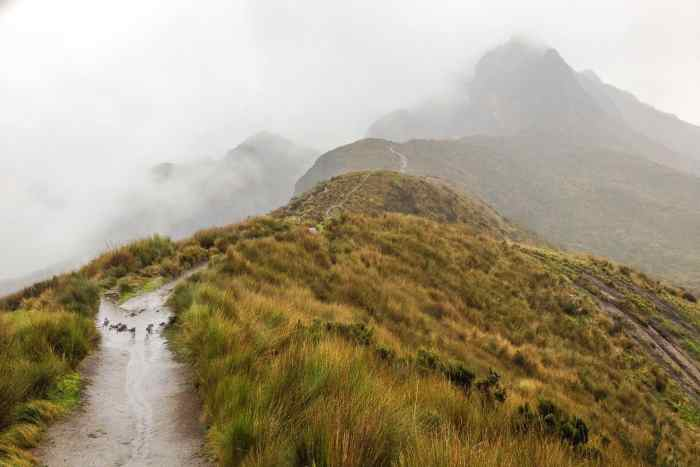 Hiking the Pichincha Volcano in Quito.