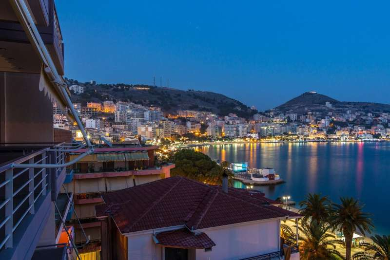Nighttime in Sarande, Albania