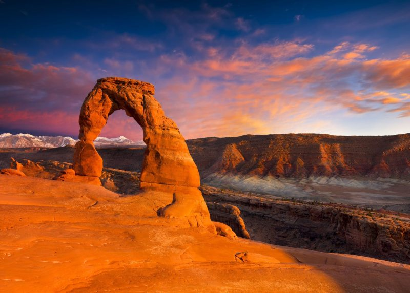 A surreal sunset at Delicate Arch inside Arches National Park, Utah