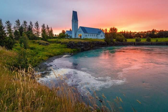A church in the small town of Selfoss, Iceland