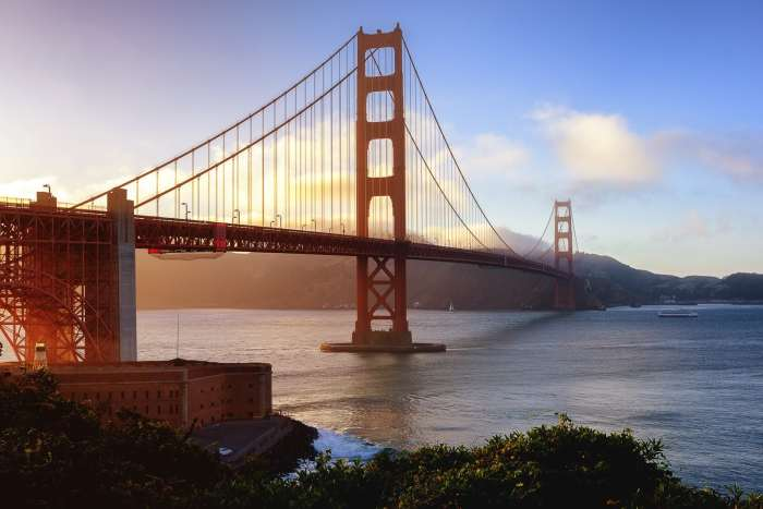 San Francisco's famous Golden Gate Bridge is a must stop on any California road trip