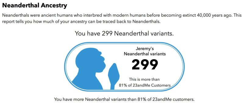 Neanderthal Ancestry Report from 23andMe