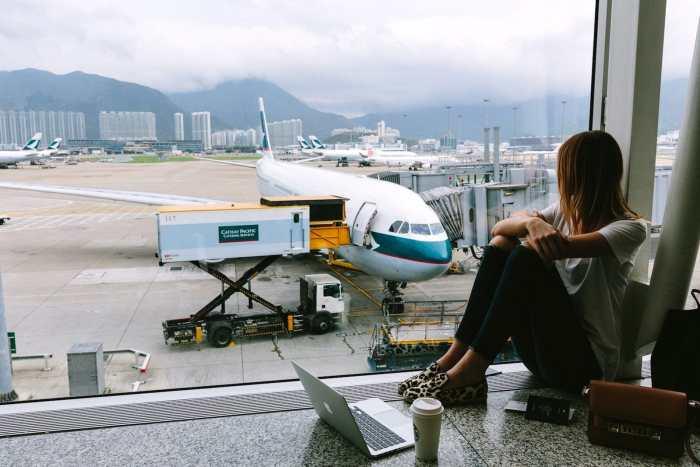 Girl at airport.