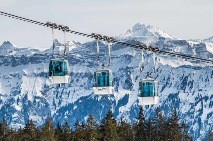 Gondolas and mountains in Switzerland