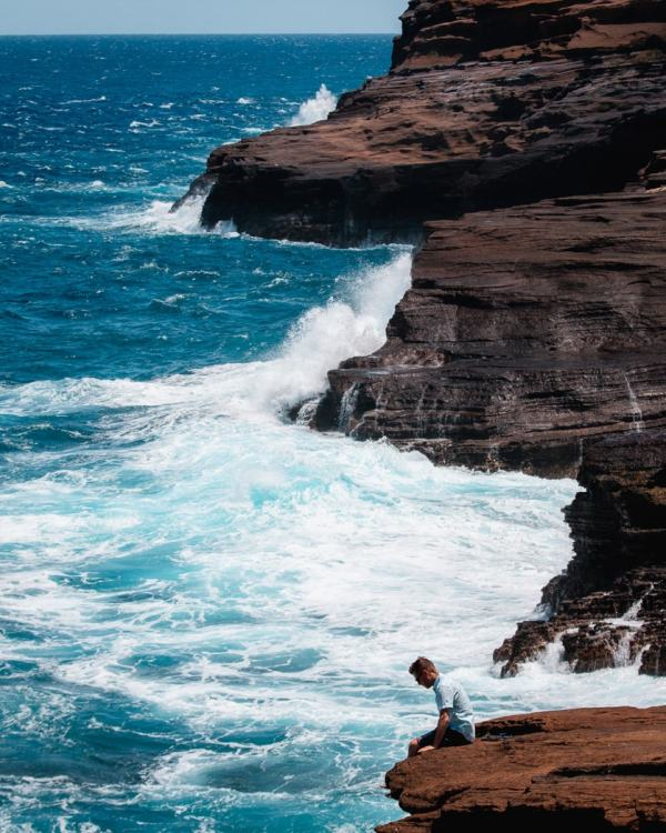 Jeremy at the Halona Blowhole in Oahu