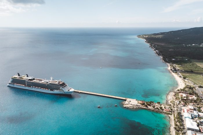 The first cruise ship to enter St. Croix since the hurricane.