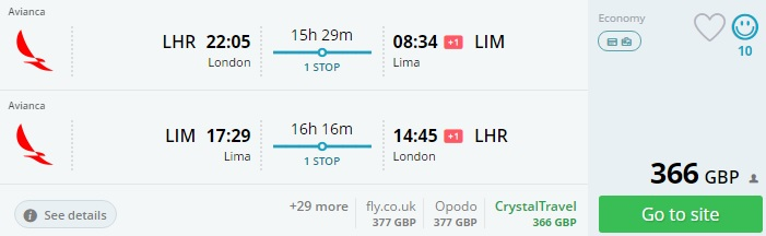 flights to peru from london