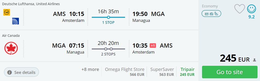 cheap flights to central america from amsterdam