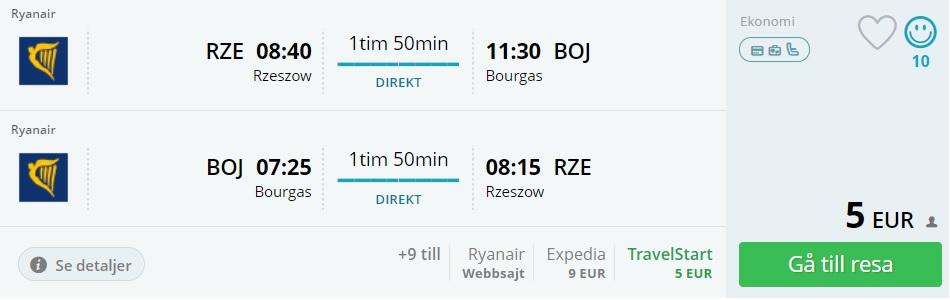 cheap flights rzeszow bourgas bulgaria