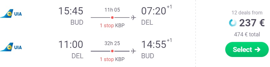 Flights from Budapest to INDIA