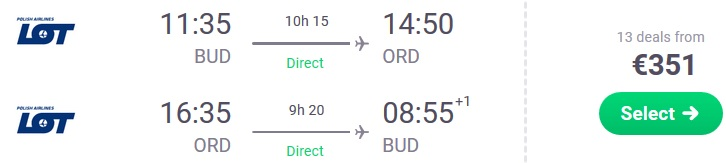 Direct flights from Budapest to Chicago