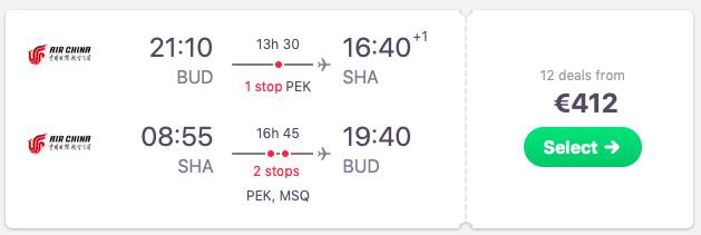 Full service flights from Budapest, Hungary to Shanghai, China
