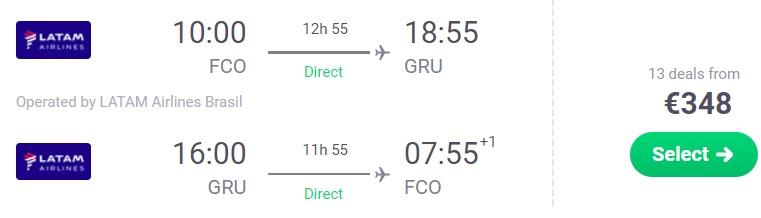 Direct flights from Rome to SAO PAULO BRAZIL