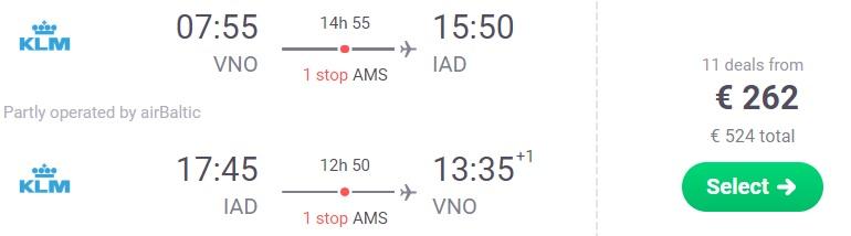 Flights from Vilnius Lithuania to WASHINGTON USA