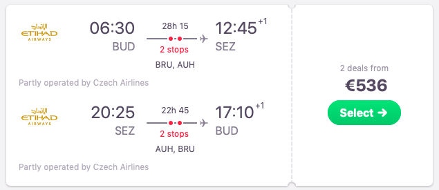 Full-service flights from Budapest, Hungary to Seychelles