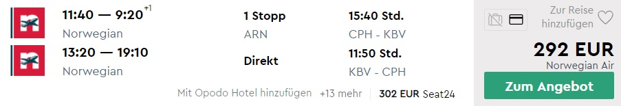 cheap flights copenhagen krabi