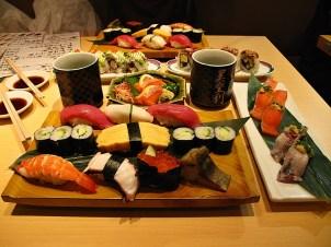 Enjoying sushi, Japan