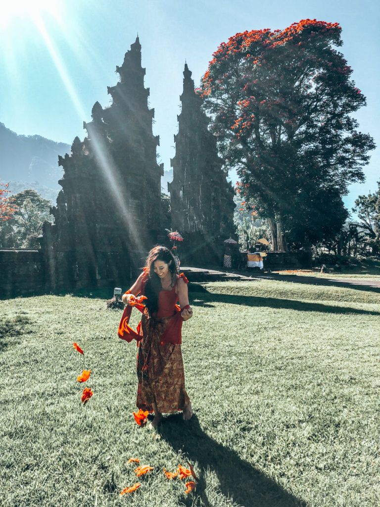 Gathering flower petals in beautiful Indonesia!