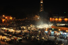 Smoke emerging from above the food stalls in Djemaa el Fna
