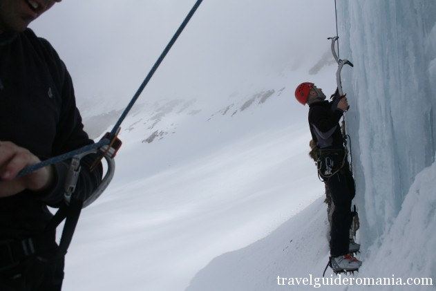 ice climbing in winter at Balea lake