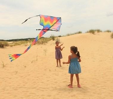 Kids fly kites at Jockey's Ridge State Park, NC