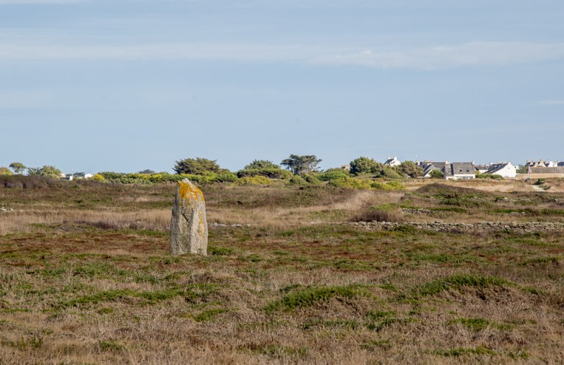 Lone menhir in the mooreland along the highway leading to Côte Sauvage, Brittany.