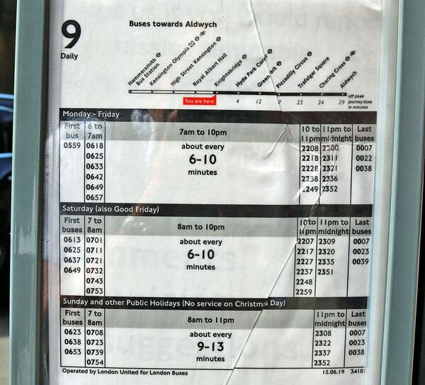 ロンドン市内バス 9系統の路線図