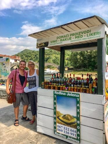 Local vendor, selling homemade liqueur, jam & honey. Rijeka Crnojevića