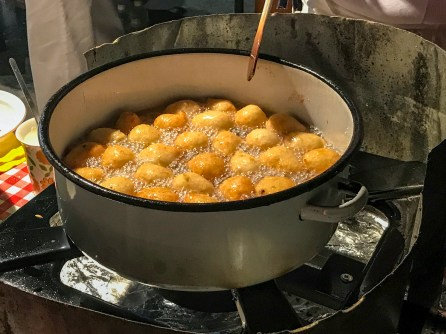 Pršurate: fried donut holes covered in powdered sugar! A traditional Croatian specialty!