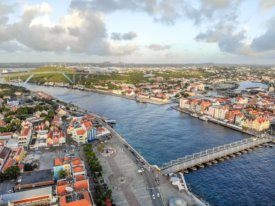 Willemstad, Curaçao Bridges Drone Shot
