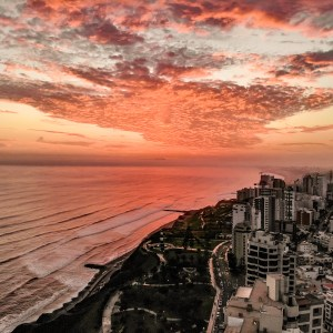 Sunset Drone Shot over Lima, Peru