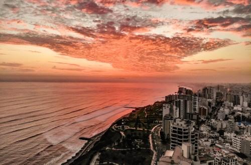 Sunset Drone Shot over Lima, Peru