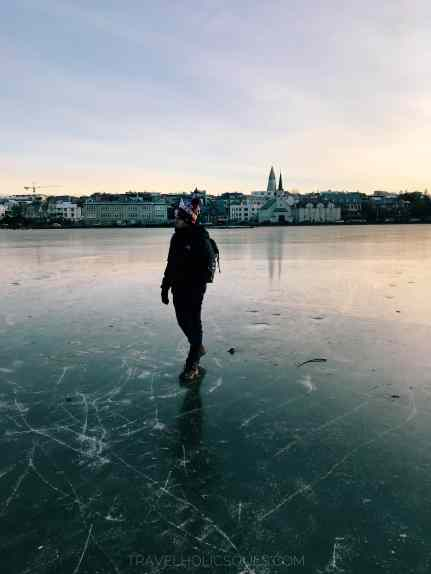 Reykjavik iceland frozen lake