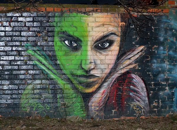 Street mural of woman