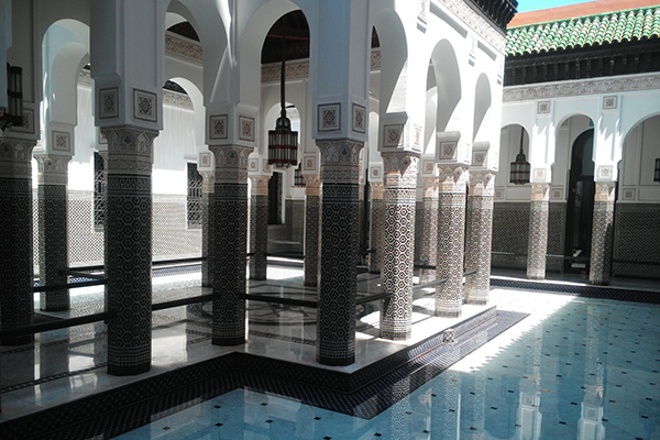 Mosque interior with pool, Morocco