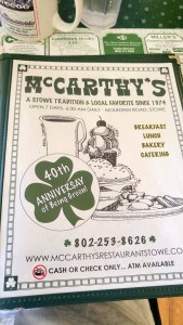 Menu cover at McCarthy's - no plastic is a common trend in Stowe