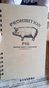 Prohibition Pig menu cover