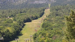 The view up to the upper gondola station of Mount Mansfield