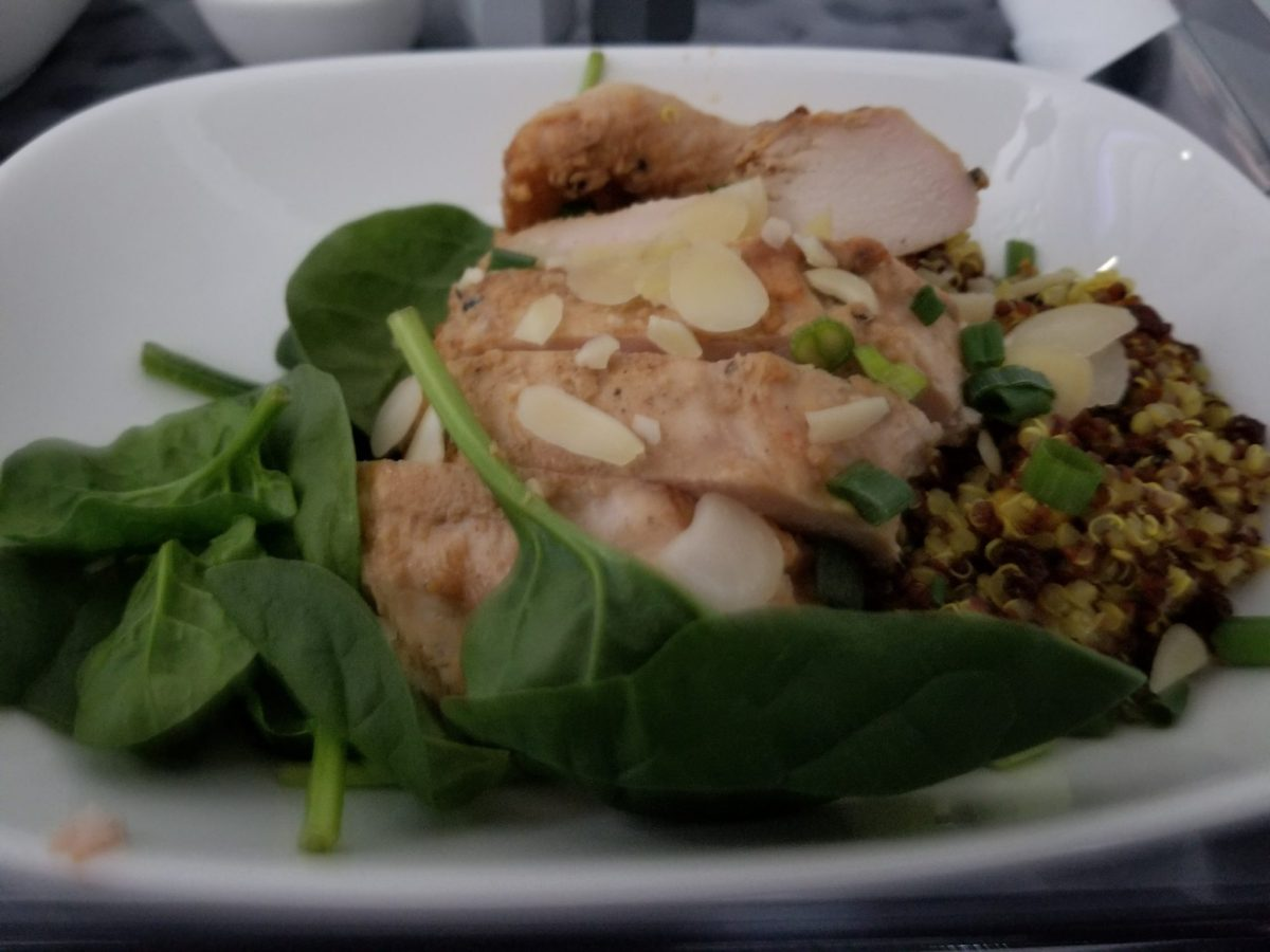 @Delta First Class Meal – Tandoori Chicken with Quinoa Salad