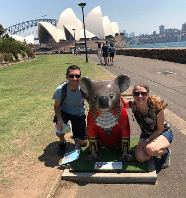 Christina and Chris with koala statue in front of Sydney Opera House