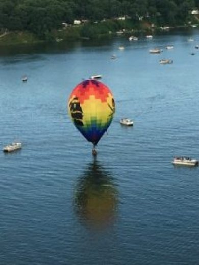 Boats were on Lake Vermilion watching balloons land.