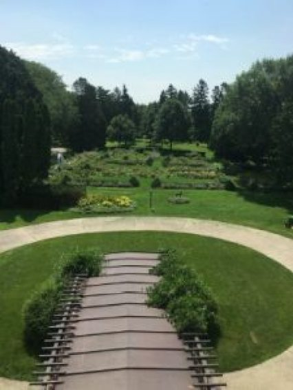 View of the estate gardens from an upper story window.