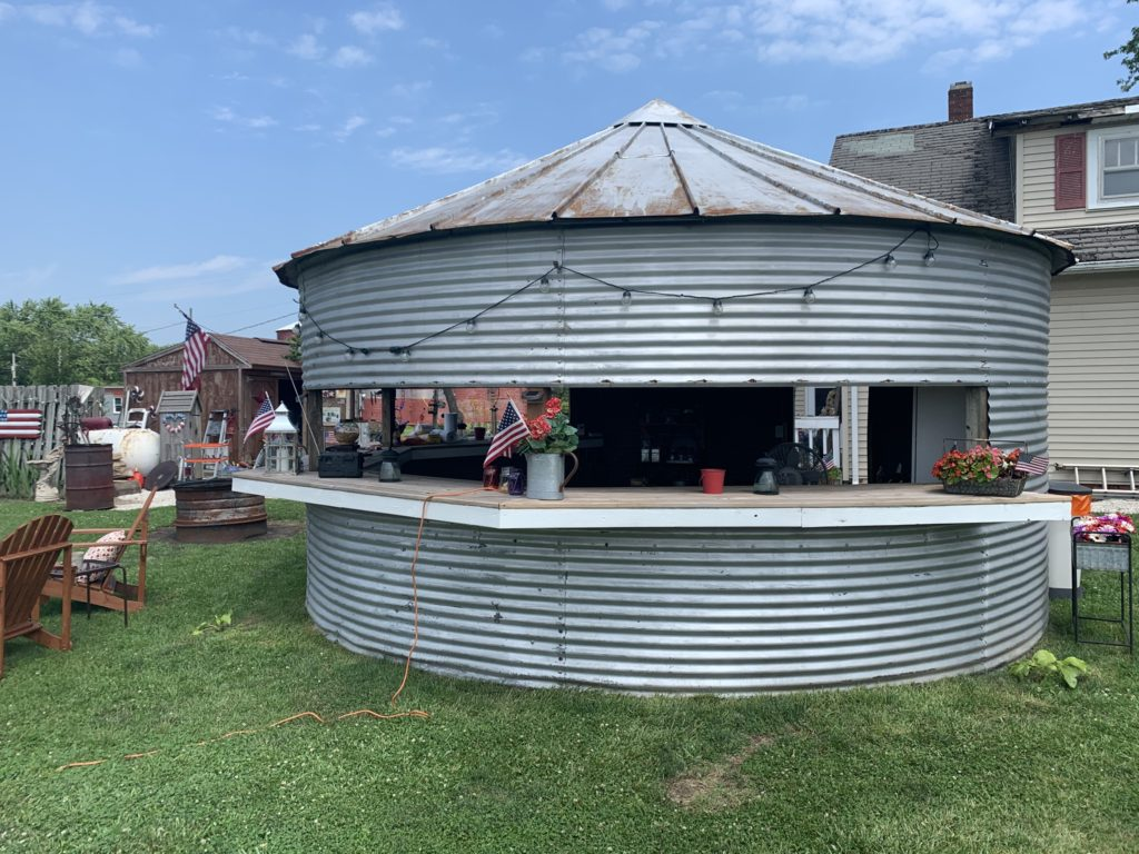 A converted grain bin at the tractor drive