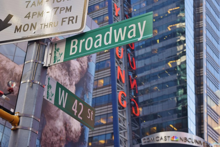 A shot of the signs at Broadway and 42nd St.