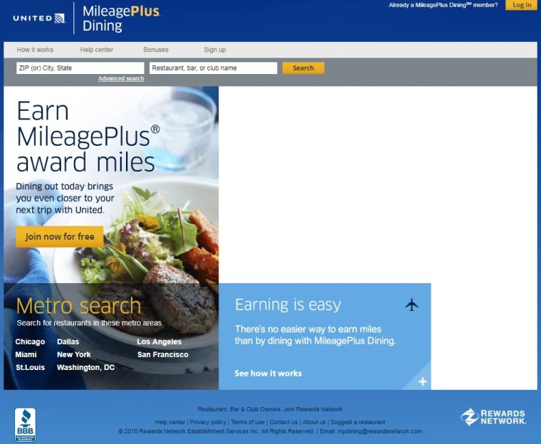 MileagePlus Dining Program