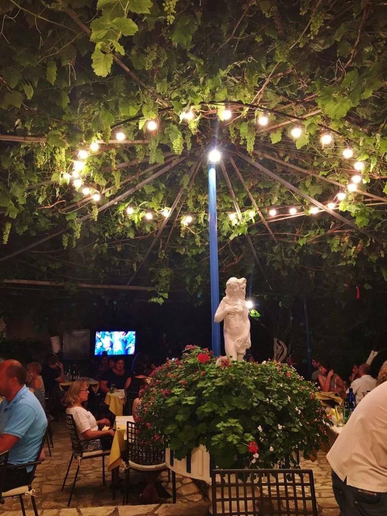 View of the patio at Sebatian's Taverna in Corfu, Greece.
