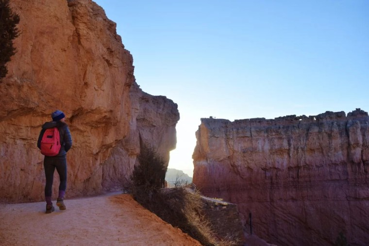 Erin walking on the Navajo Loop Trail in Bryce Canyon