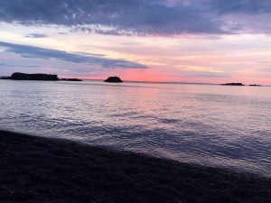 Sunrise at Horseshoe Beach with, featuring Keweenaw Conglomerate, near Copper Harbor, MI