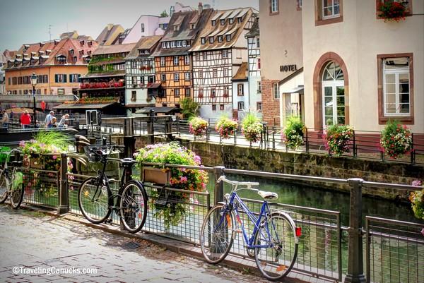 Bikes in Strasbourg along the Amsterdam to Rome Bike Tour Route